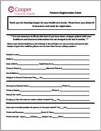 medical patient registration form